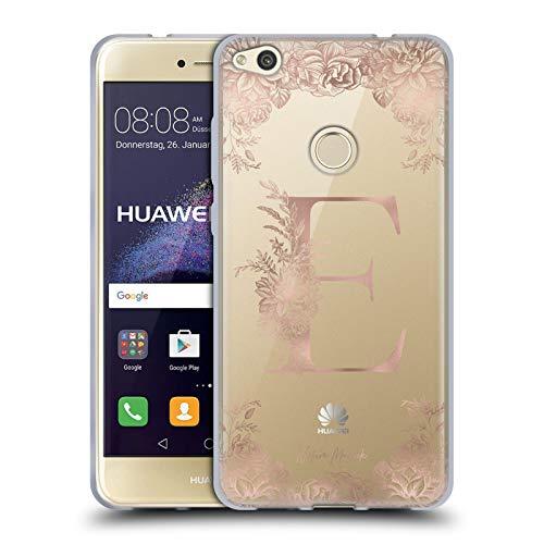 Head Case Designs Oficial Nature Magick Letra E Monograma Floral de Oro Rosa 1 Carcasa de Gel de Silicona Compatible con Huawei P8 Lite (2017)