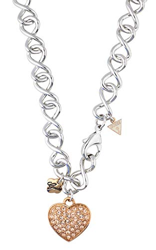 Guess Women's Necklace Metal Silver/Rose Gold Heart UBN31104