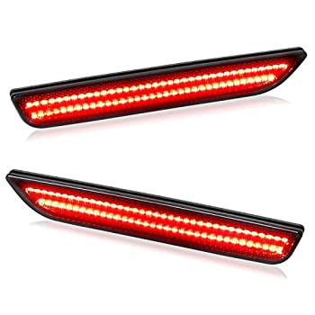 RUXIFEY Smoked LED Side Marker Lights Rear Sidemarker Lamps Compatible with Ford Mustang 2010 to 2014 Red - Pack of 2