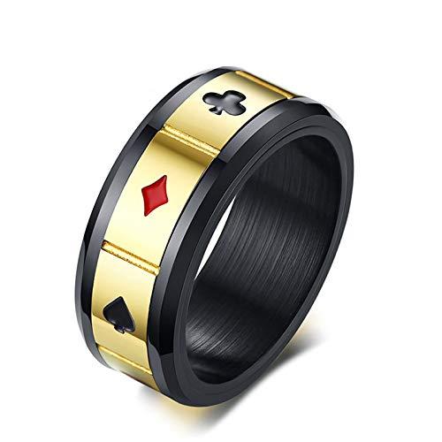Bishilin Edelstahlring Herren Gold Schwarz Poker Muster Rund 8 MM Partnerring Männer Ring Größe 57 (18.1)
