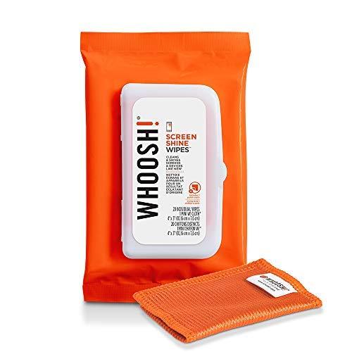 WHOOSH Screen Shine - Toallitas Antimicrobianas Desechables, Adecuadas para Cada Pantalla, Eliminan Suciedad, Polvo, Manchas, No Tóxico 100% Certificado, Limpieza e Higiene, 20 Piezas + 1 Paño