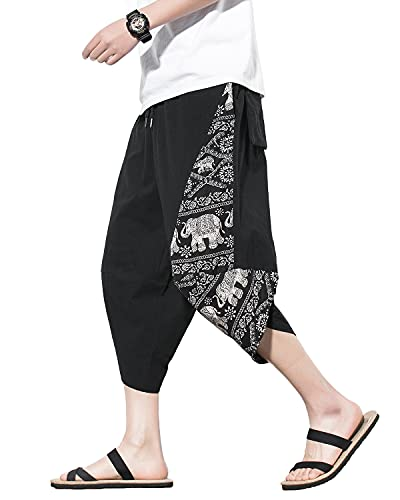 PRIJOUHE Men's Harem Pants Casual Lightweight Elastic Waist Wide Leg Baggy Linen Capri Pants Trousers