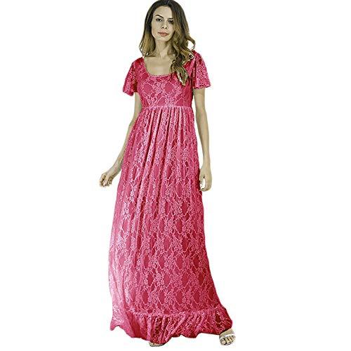 Vestido de mujer de encaje, manga corta, vestido de maternidad, vestido largo...
