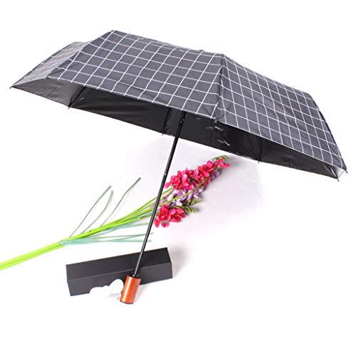 CapsA Travel Umbrella,Charging Folding Umbrella with Fan 2000 MAh to Send Fan Windproof Reinforced Quick-Drying Lightweight Sun Rain Umbrella (Black)