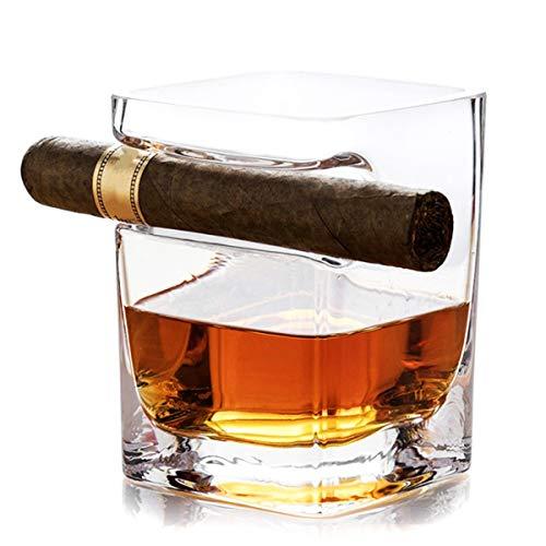 OTARTU - Vaso de whisky de cigarros con soporte para cigarros, cristal de cristal, regalo para el día del padre