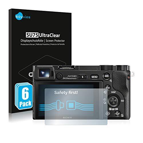 Savvies 6X Schutzfolie kompatibel mit Sony Alpha 5000/6000 Displayschutz-Folie Ultra-transparent