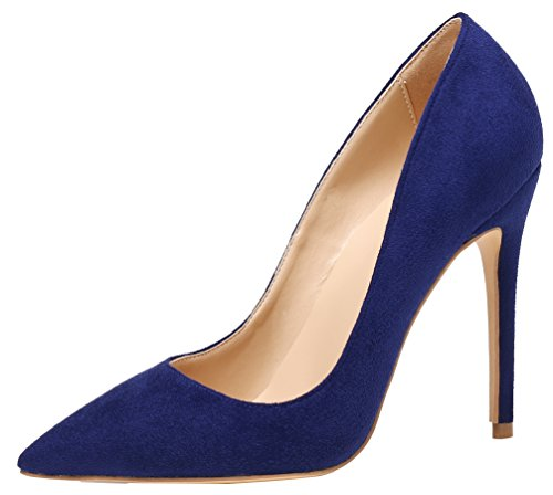 AOOAR Damen High Heel Klassische Blau Wildleder Büro Pumps EU 38