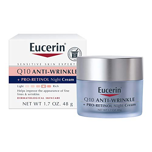 Eucerin Q10 Anti-Wrinkle Face Night Cream - Fragrance Free, Pro-Retinol, Moisturizes for Softer Smoother Skin as You Sleep- 1.7 Ounce (Pack of 1)
