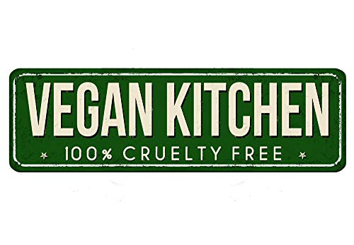 Losea Vegan Kitchen Metal Tin Sign Retro Vintage Sign for Home and Bar Wall Decor 4x16 Inches