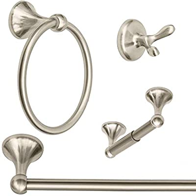 "Wholesale Plumbing Supply 4-Piece Bathroom Hardware Accessory Set with 24"" Towel Bar - Satin Nickel"