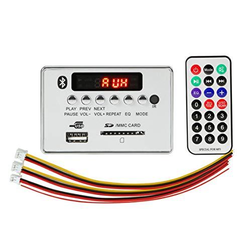 Reproductor de MP3 USB para automóvil Módulo de Placa de decodificador de MP3 Manos Libres Integrado Control Remoto Radio Auxiliar FM USB para automóvil - Gris Plateado