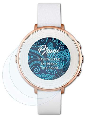 Bruni Schutzfolie kompatibel mit Pebble Time Ro& Folie, glasklare Bildschirmschutzfolie (2X)