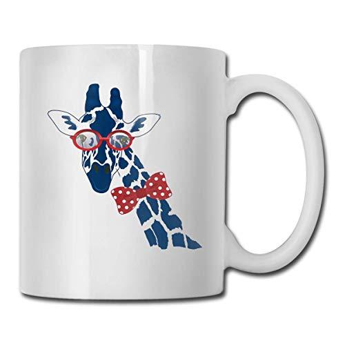 Taza de jirafa azul, taza de café para bebidas calientes, taza de gres, taza de café de cerámica, taza de té de 11 onzas, divertida taza de regalo para té y café