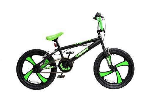 XN BMX 20' 4 Spoke MAG Wheel Freestyle Bike Gyro Stunt Pegs Kids Boys Girls (Black/Green)