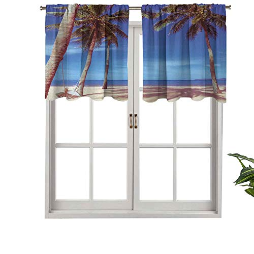 Hiiiman Indoor Home Curtain Valance Panel Image of an Hammock at Summer Tropical Beach, Set of 1, 50'x18' for Bathroom and Cafe