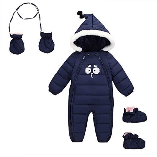 FEOYA - Mono para Bebés Invierno de Mangas Largas con Capucha Mameluco Cálido con Guantes y Zapatos Cómodo para Recién Nacidos de 0-6 Meses - Azul