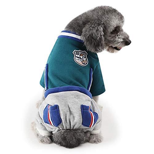 ZCY hond, warm pak voor huisdieren en winter, gevoerd, kattenjas met capuchon, S, Groen