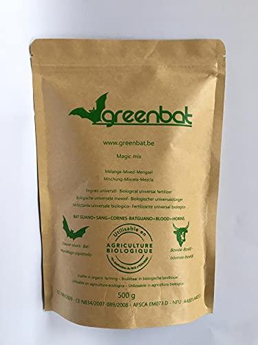 GREENBAT 500 g, poudre NPK 7-6-3, Engrais Biologique mix de Guano de Chauve Souris, Farine de Sang, et Cornes de Bovidés.
