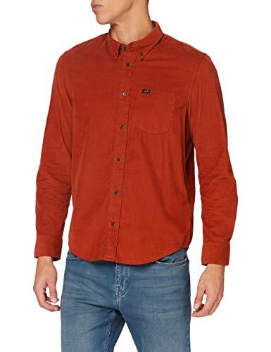 Lee Button Down Camicia abbottonata, OCRA Rossa, XXL Uomo
