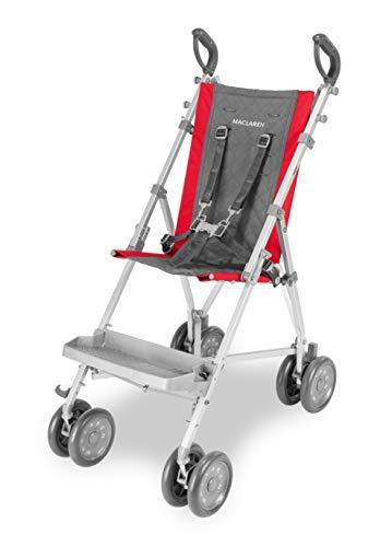 Maclaren Major Elite silla de transporte para niños con necesidades especiales desde 6 meses hasta 50 kg, Incluye arnés de 5 puntos y reposapiés extraíble, Chasis de aluminio, Rojo/gris oscuro