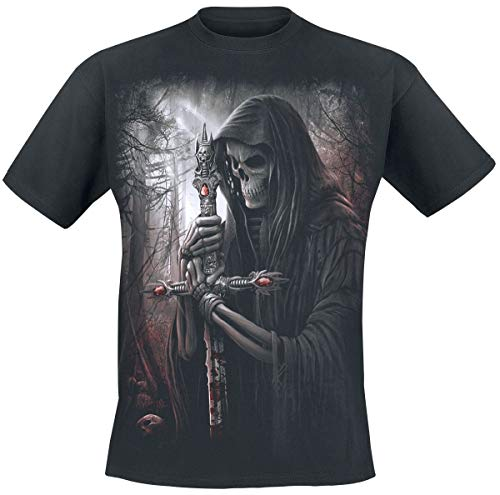 Spiral Direct Camiseta con Cráneos y Espada Estampados Soul Searcher - Negro