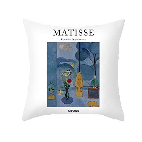 PPMP Matisse Oil Funda de cojín Pintura al óleo Funda de Almohada para sofá Decoración del hogar Funda de cojín Decorativa Funda de Almohada para abrazar A3 45x45cm 2pc