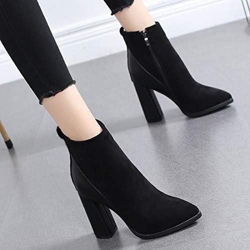 HRCxue Femmes Bout Rond Chaussures à Talons Pointues épaisses avec des Bottes Courtes Chaussures en Coton, Plus Bottes Martin en Velours, 35, Noires