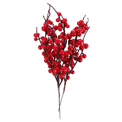 Amosfun 3pcs Artificial Red Berry Stems Holly Berry Branches Christmas Picks Greenery Xmas Holiday and Home Decor Cedar Branch Winter Faux Garland