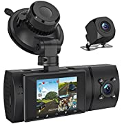 3 Channel 1080P FHD Dash Cam with GPS, Front Inside and Rear Car Camera Recorder with Infrared Night Vision, 2'' LCD Display, 4 IR LEDs, G-Sensor, Parking Mode, Loop Recording (1080P)