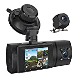 3 Channel 1080P FHD Built-in GPS Dash Cam, Front Inside and Rear Car Camera Recorder with Infrared Night Vision, 2'' LCD Display, 4 IR LEDs, G-Sensor, Parking Mode, Loop Recording (1080P)