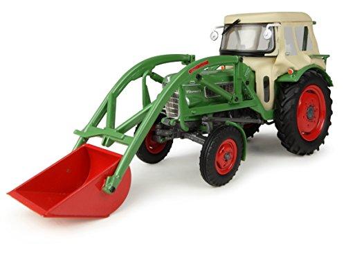 Universal Hobbies–UH4946–Sammelfigur, Motiv: Traktor Fendt Farmer 2mit Kabine und Ladeschaufel vorne–Grün–Maßstab 1:32