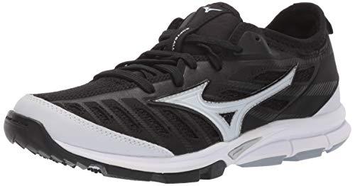 Mizuno Women's Players Trainer 2 Fastpitch Turf Softball Shoe, Black/White, 11 B US
