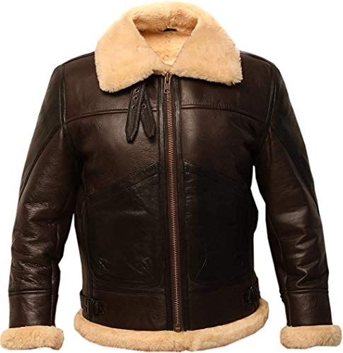 B3 Brown Bomber Real Shearling Two Tone Sheepskin Leather Jacket (S)