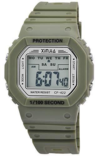 Xinjia Protection Reloj Digital para Hombre, Verde, Cuarzo, Silicona, Deporte, Alarma, luz, cronómetro, Fecha, Retro, Reloj de Pulsera de 80