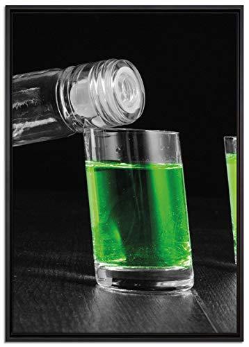 Pixxprint Dark Grüner Absynth Leinwandbild 100x70 cm im Bilderahmen | Wandbild | Schattenfugenrahmen | Kein Poster
