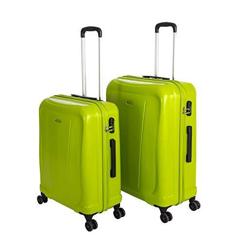 Original Verage Hero Marken Koffer ABS Hartschale Reisekoffer, Reisetrolley. (Grün (Lime), Koffer Set (M+L))