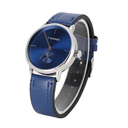 GSX Reloj de Hombre Correa De Cuero De PU A Prueba De Agua Reloj De Hombre Mecánico Correa Azul Reloj Analógico