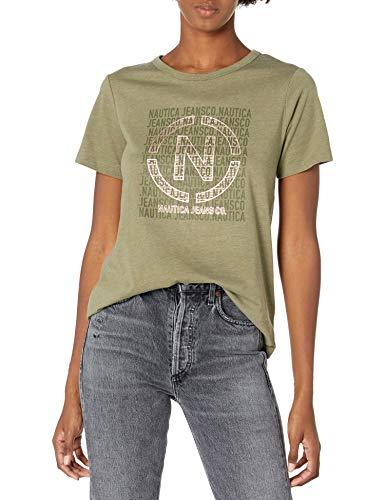 Nautica Women's Soft Cotton Graphic T-Shirt, Urban Camo, Medium