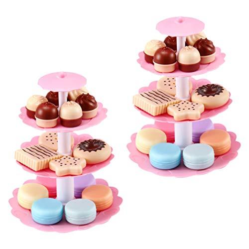 Tomaibaby Cocina para Niños Té de La Tarde Juego de Juguetes para Niñas Torre de Postre Miniatura Comida Falsa Comedor Juguete para Niños Juego de Cocina Mini Pastel Galletas 2 Juego