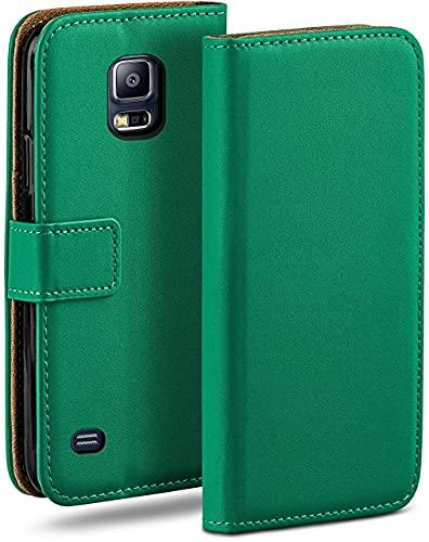 moex Klapphülle kompatibel mit Samsung Galaxy S5 / S5 Neo Hülle klappbar, Handyhülle mit Kartenfach, 360 Grad Flip Hülle, Vegan Leder Handytasche, Dunkelgrün