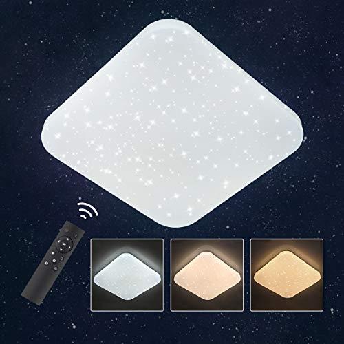 Oeegoo 24W LED Deckenleuchte Dimmbar Sternenhimmel, Lichtfarbe und Helligkeit Einstellbar mit Ferbedienung, Flimmerfreie Deckenlampe mit Sternen-Dekor für Kinderzimmer Schlafzimmer, 3000K-6500K