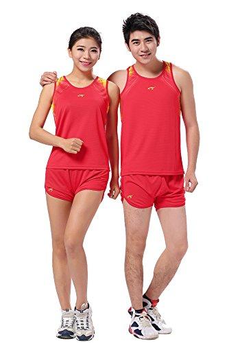 KINDOYO Femmes Hommes Classique sans Manches Athlétique Gilets T-Shirt Vêtements de Running Jogging Fitness Maillot et Short Sportswear, Rouge, EU 2XL=Tag 3XL-W, Hauteur:165-170cm