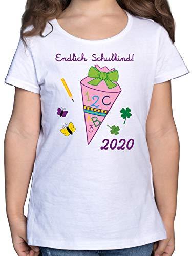 Einschulung und Schulanfang - Endlich Schulkind 2020 Mädchen Schultüte rosa - 128 (7/8 Jahre) - Weiß - 1. Schultag Tshirt - F131K - Mädchen Kinder T-Shirt
