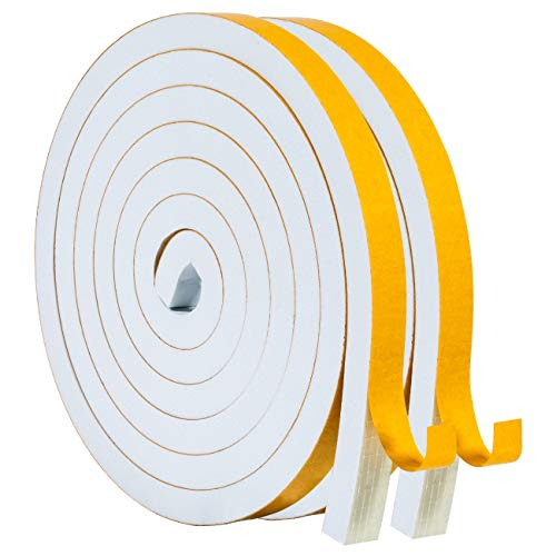 Foam Window Seal-2 Rolls, 1/2 Inch Wide X 1/2 Inch White Thick Weather Stripping for Windows and Doors Adhesive Soundproofing Thick Foam Tape Total 13 Feet Long(6.5ft x 2 Rolls)