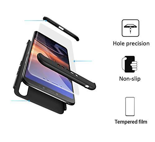 xinyunew Hülle kompatibel mit Xiaomi Mi Max 3+Panzerglas Schutzfolie,Superleichte Superdünne 3 in 1 PC Schutzhülle Etui Stoßfeste Kratzfeste Handyhülle mit 360 Grad R&umschutz Schwarz