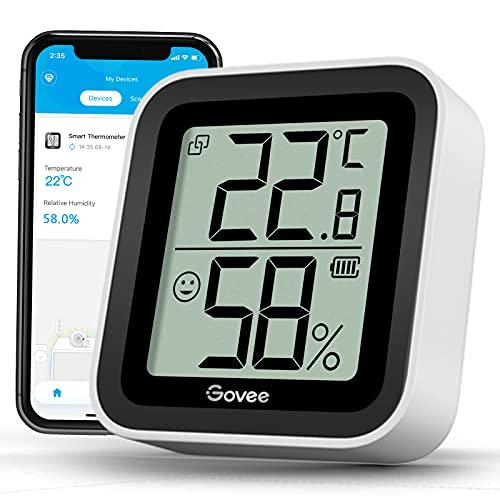 Govee Bluetooth Thermometer Hygrometer für Innenbereich mit mini LCD Bildschirm, Fernüberwachung über Govee Home App, Datenspeicherung und -export, geeingnet für Gewächshaus, Lager, Büro, Zuhause