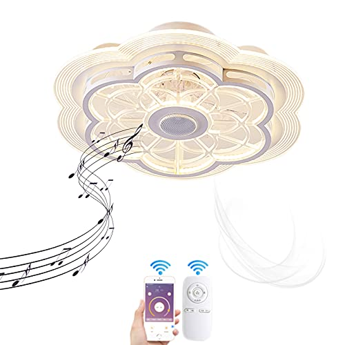 VOMI Dormitorio Silencioso Ventilador de Techo con Mando a Distancia Lámpara de Ventilador LED Regulable Iluminación Moderno Invisible Cuchilla 80W Lámpara de Techo con Bluetooth Altavoz