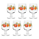 THUN - Set Calici Vino da 6 con Decorazione Floreale - Accessori Cucina - Linea Country - Vetro - 280 ml, 13 h cm