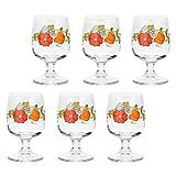 THUN ® - Set 6 mezzi Calici per Vino - Vetro Trasparente con Decorazione Floreale - Country - 280 ml - h 13 cm