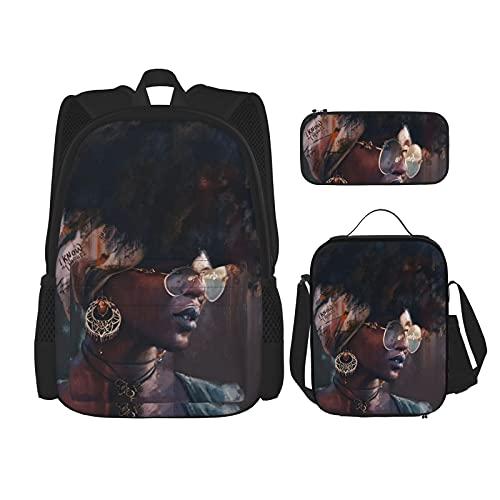 African Woman Earrings Backpack Lunch Bag Pencil Case Set,Laptop Backpack School Bookbag for Boys Girls School Student Office Supplies Men Women